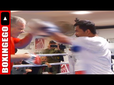 Manny Pacquiao BLINDING HANDSPEED hard to catch on camera | Pacquiao vs Horn Media Footage