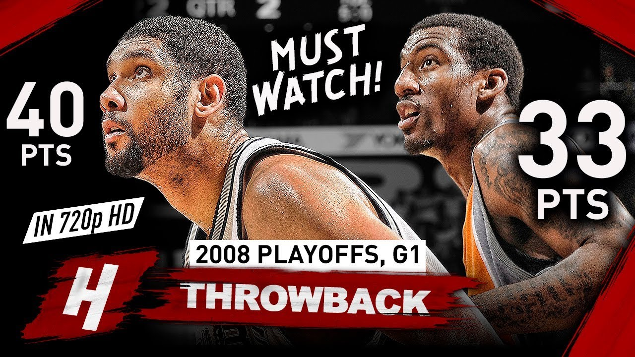 Tim Duncan vs Amar'e Stoudemire LEGENDARY Game 1 Duel Highlights 2008 Playoffs - CLUTCH Duncan!