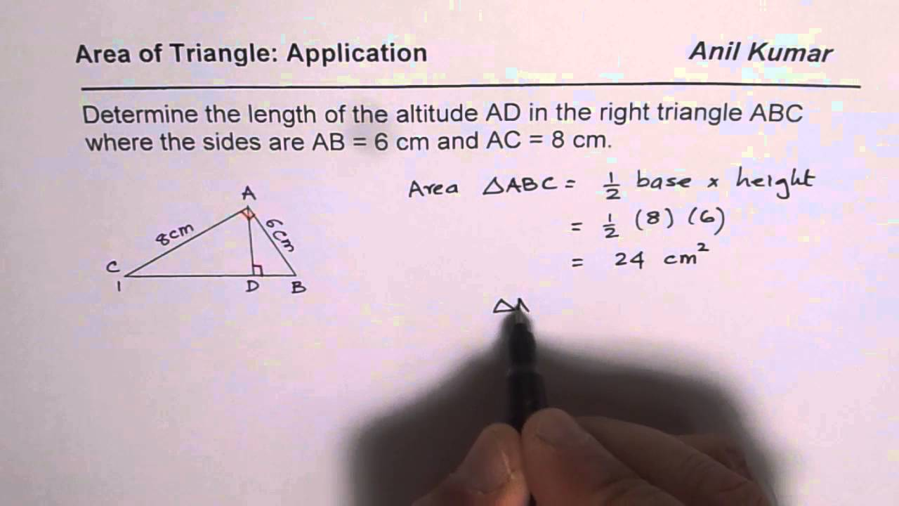 Determine The Altitude Of A Right Triangle Given Its Side Lengths