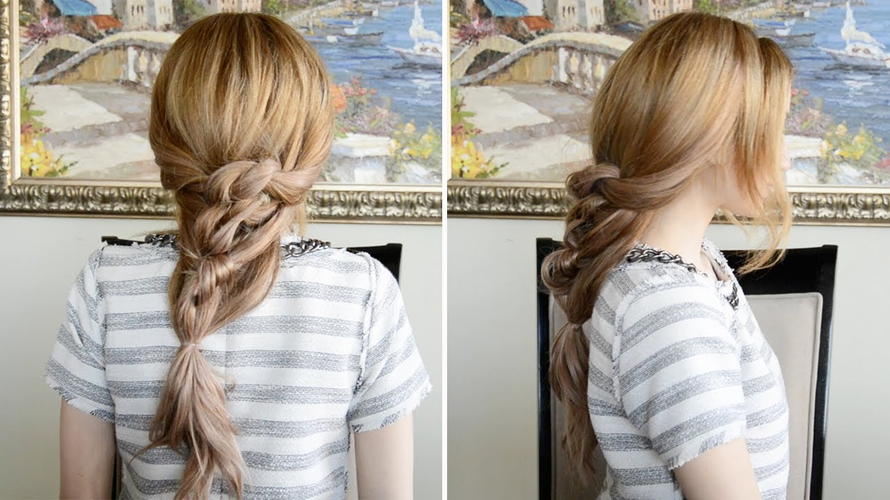 messy chunky knotted ponytail hairstyle | fancy hair tutorial