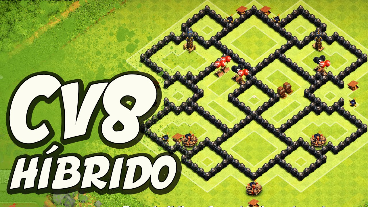 layout hÍbrido replay de defesa para cv8 clash of clans youtube