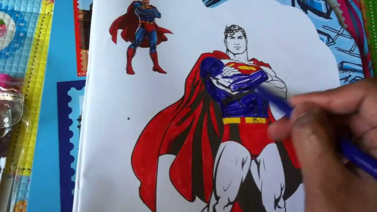 color superman cartoon drawing kids activity colors for children youtube