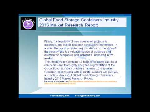 Global Food Storage Containers Industry 2016 Market Research Report