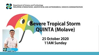 """Press Briefing: Severe Tropical Storm """"#QuintaPH"""" Sunday,  11 AM October 25, 2020"""