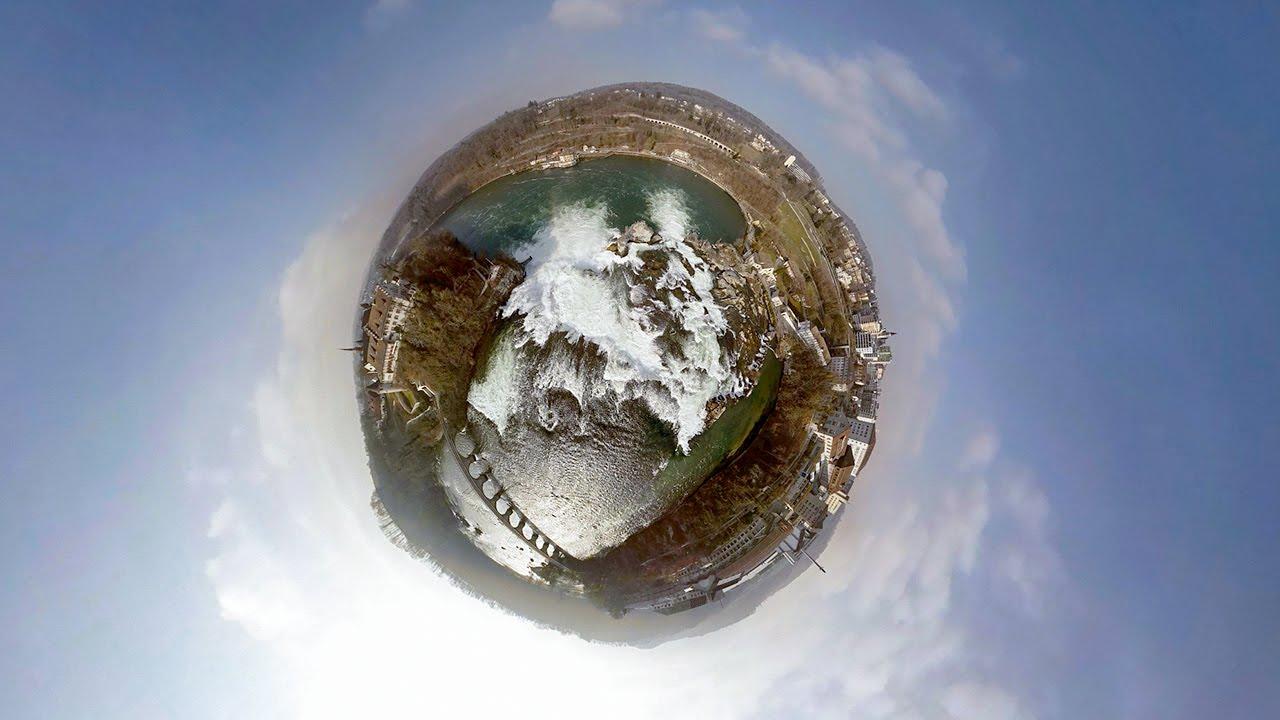 VR 360° Drone flight over waterfall / 360° Drohnenflug über Rheinfall