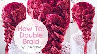 Как соединить две обратные косы в одну ? ... Прическа на 1 сентября ★ How To: Double Dutch Braid