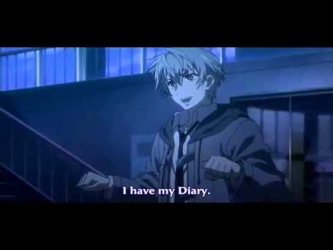 """Future Diary ep09 """"Left or right? It's a game where you guess"""" Aru Akise versus  Hinata  Hino"""