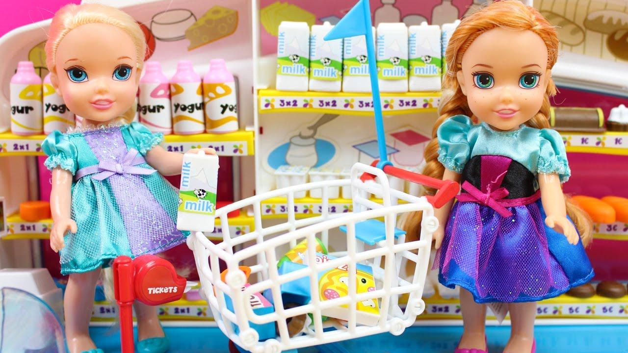 Aventuras De Elsa Y Anna En El Supermercado Elsa Y Anna Frozen Van De Compras Youtube