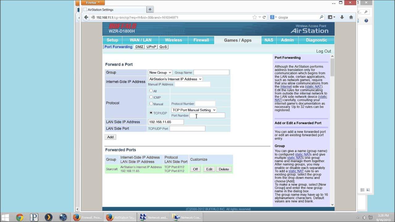 Buffalo AirStation How to Configure Port Forwarding