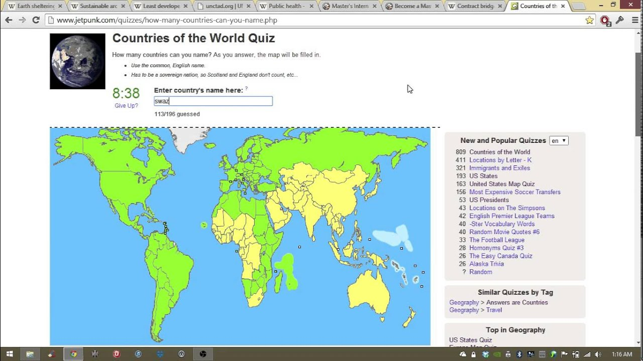 I Learned All The Countries YouTube - World map quiz easy