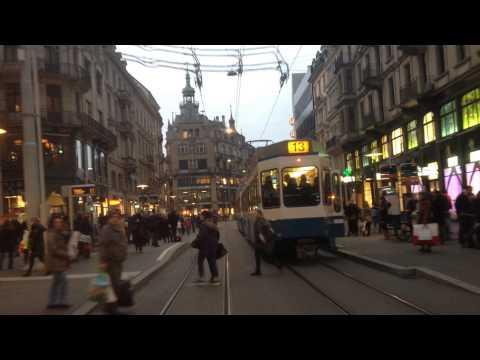 Tramfahrt Zürich Bahnhofstrasse - Paradeplatz / Tramway ride, Zürich, Switzerland