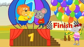 Lion Family Race on Colorful Balls Cartoon for Kids