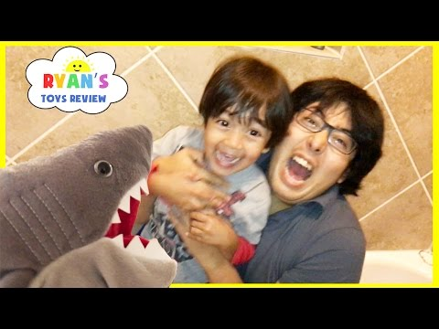Thumbnail: PET SHARK ATTACK! Playing Chase and Hiding Family Fun Activities for Kids Toy Shark Pretend Playtime
