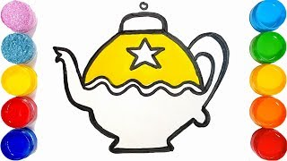 How to draw a Teapot for Kids | Teapot Easy Draw Tutorial || TOO COLOUR||