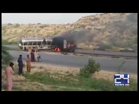 24 Report: Oil tanker bumped with cars on Karachi Superhighway