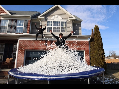 10,000 PING PONG BALLS ON TRAMPOLINE!