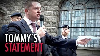 Tommy Robinson's ROUSING speech before entering court (Oct 23 2018)