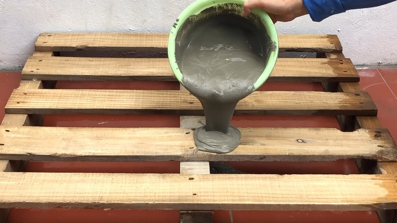 Creative Ideas From Wood Pallet And Cement | Technique Making Coffee Table | Cement Craft Ideas