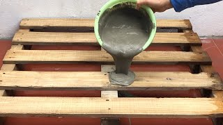 Creative Ideas From Wood Pallet And Cement .Technique Making Coffee Table . Cement Craft Ideas