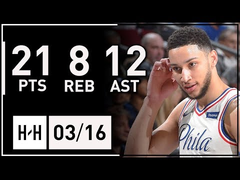 Ben Simmons Full Highlights 76ers vs Nets (2018.03.16) - 21 Pts, 8 Reb, 12 Assists!