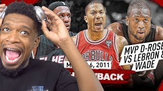 The Game that MVP Derrick Rose COMPLETELY DESTROYED LeBron James & Dwyane Wade 2011.03.06 - EPIC!