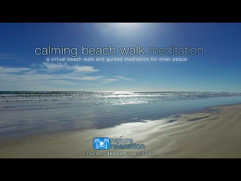 4K UHD Guided Meditation + Virtual Beach Walk Australia For Stress Relief, Inner Peace & Happiness