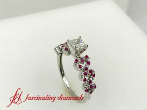 Heart Design Diamond Wedding Ring With Ruby In White Gold