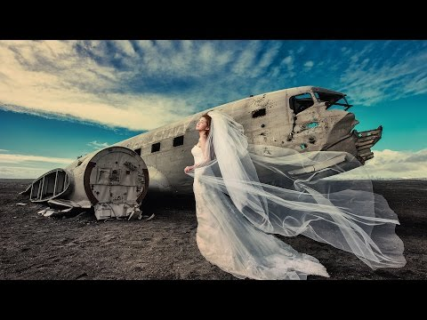 Wedding Portraits Amongst Waterfalls and Plane Wrecks
