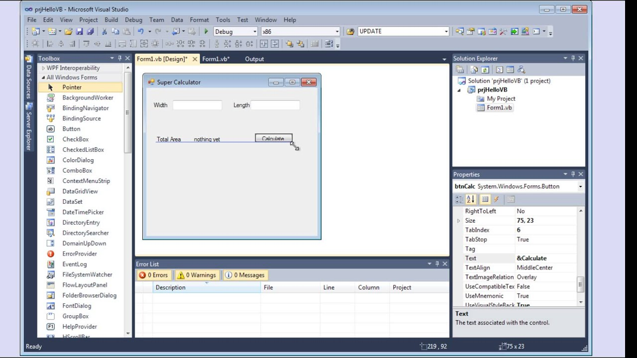 Build a basic application using Visual Studio 2010 and Visual Basic