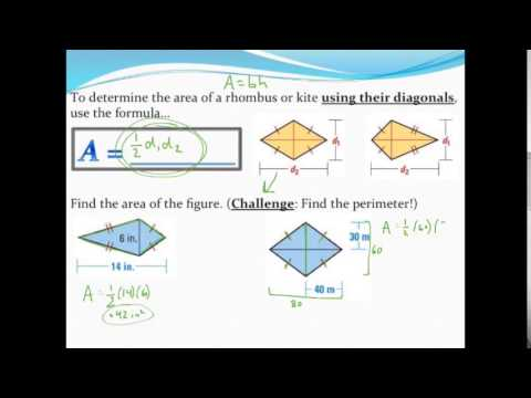Calculating the area and perimeter of kites and rhombuses youtube calculating the area and perimeter of kites and rhombuses ccuart Images