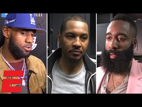 LeBron James, Carmelo Anthony, James Harden and more on Rockets vs Lakers fight | NBA Interview