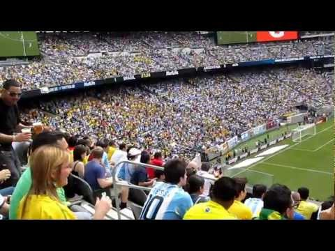 Brazil vs Argentina soccer game at Metlife Stadium -- The wave