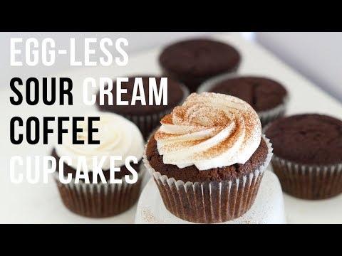 Eggless Sour Cream Chocolate Coffee Cupcakes - Chocolate Cupcakes