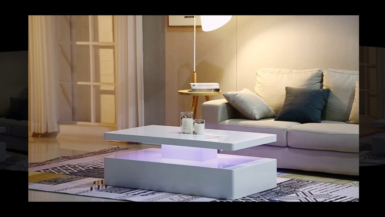 Quinton Modern Coffee Table In White High Gloss With Led Lig Youtube