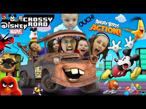 FGTEEV plays DISNEY CROSSY ROAD #9 / ANGRY BIRDS ACTION + MARVEL DEADPOOL w/ M&M'S Ouch MashUp Fun!