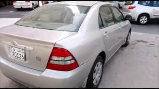 videoq8car فيديو كويت كار، سيارات للبيع في الكويت، تويوتا كورولا موديل 2003 السعر 650 دك