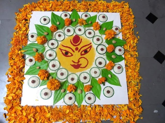 dussehra/navratri special beautiful rangoli/navratri kolam by latest rangoli