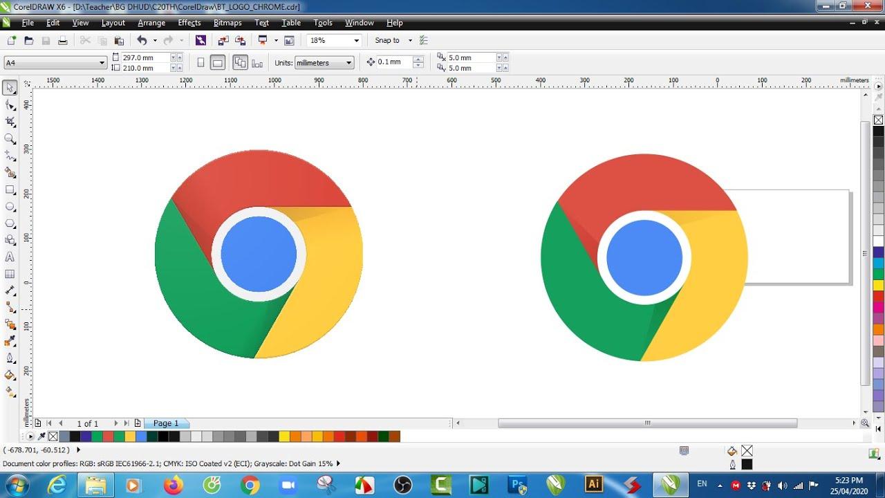 Vẽ logo Google Chrome bằng CorelDraw X6 – Logo design