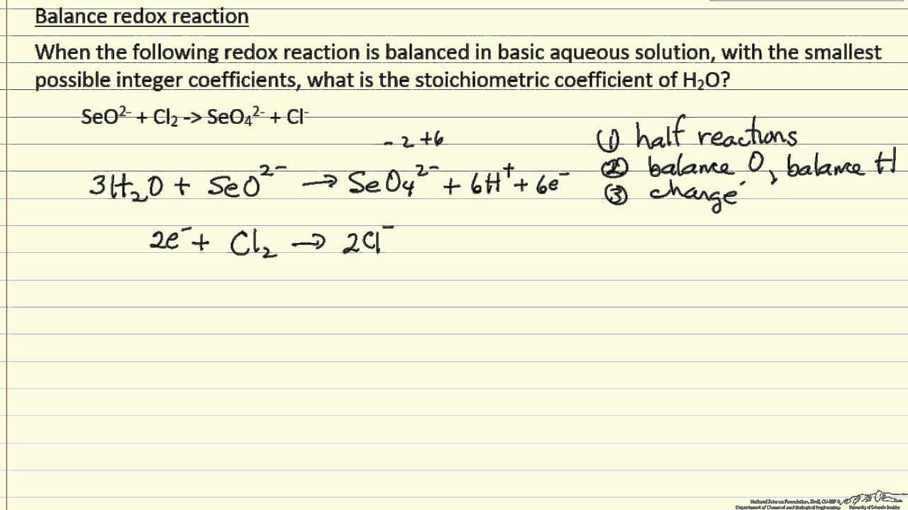 Balance Redox Reaction Basic Solution Example