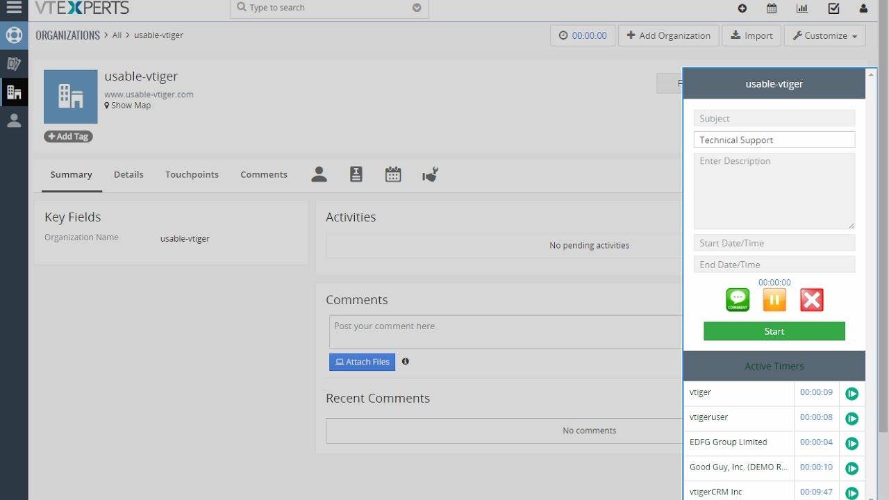 vtiger 7 time tracker time management extension youtube