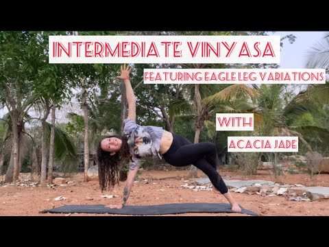 intermediate vinyasa yoga sequence  featuring eagle leg