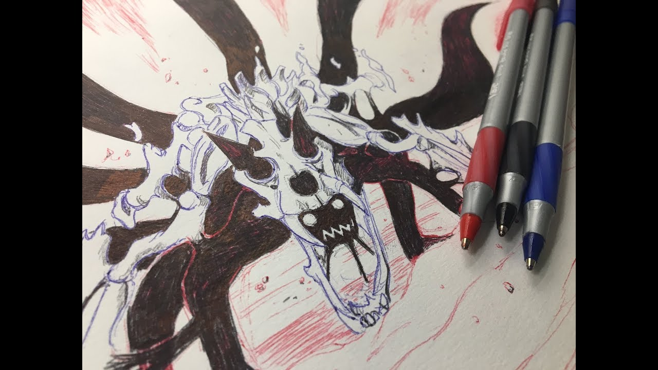 Drawing Naruto six tails using ONLY 3 pens - YouTube
