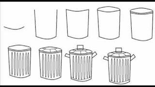 How To Draw A Trash / Garbage Can Simple Step By Step Drawing Tutorial
