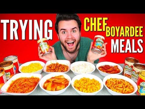 TRYING CHEF BOYARDEE CANNED MEALS! – Ravioli, Chicken Alfredo, Mac N' Cheese, & MORE Taste Test!