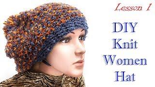 #hat #women как вязать шапку спицами МК1
