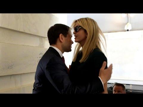 Marco Rubio awkardly hugs Ivanka Trump
