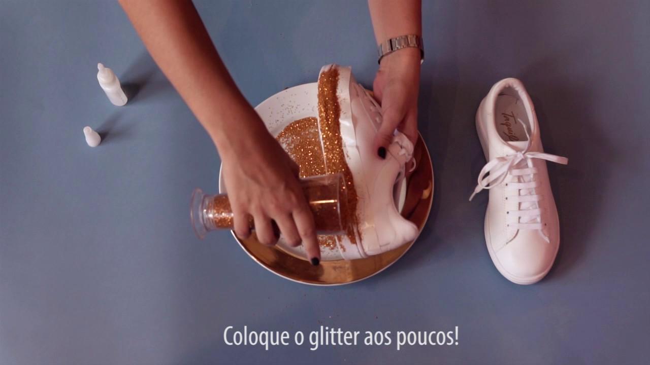 8062c40675 DIY Taquilla  Customizando Tênis com Glitter - YouTube