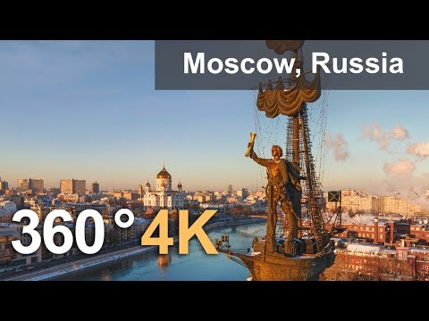 360 video of Moscow. Capital of Russia from above. 4K aerial