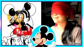 BLINDFOLD CHALLENGE - Drawing Mickey Mouse - Try NOT to Laugh - Fun2draw