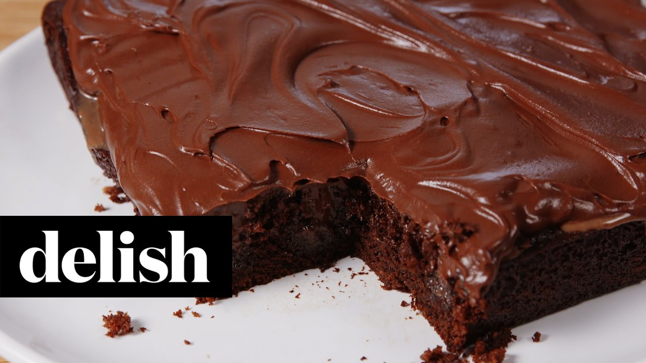 Nutella Mocha Poke Cake